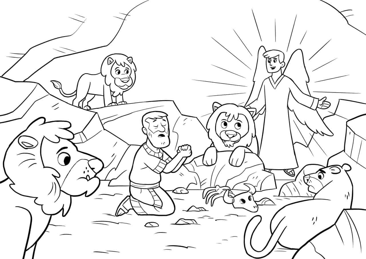 daniel-and-the-lions-den-coloring-page | Cranleigh Community Church